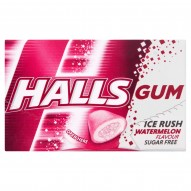 Halls Gum Ice Rush Bezcukrowa guma do żucia o smaku arbuza 18 g